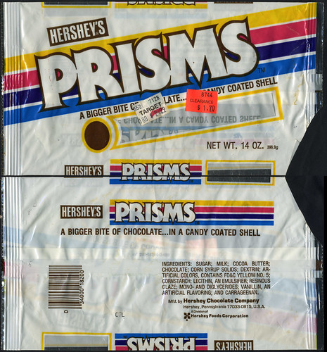 Hershey's Prisms candy coated chocolate bag - 1980's