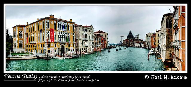 Venecia (Italia). Palacio Cavalli-Franchetti y Gran Canal.