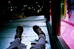 Sneakers Lying on NYC Sidewalk