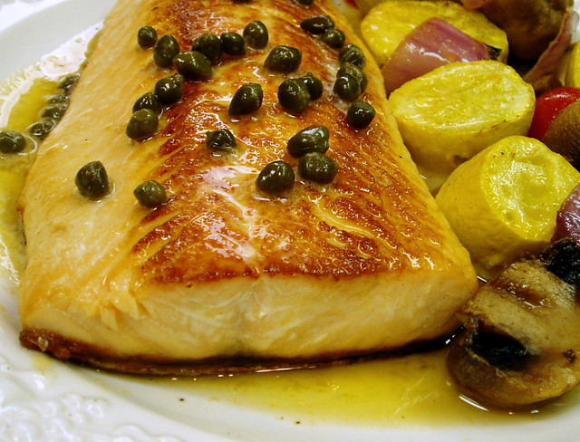 Pan Seared Salmon with Lemon Butter Caper Sauce
