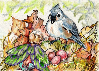 "My friends artwork!       ANTICIPATION - FAIRY SPRITE & MOMMY BIRD ACEO DGLORDEN 3rd in the ""South Mountain Sketchbook"" series ORIGINAL"
