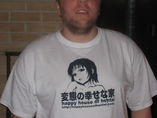 ... wearing my happy house of hentai shirt Lord K and Hello Kitty gave me.