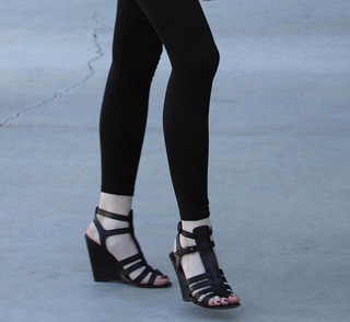 Balenciaga black gladiator wedge sandals Lindsay Lohan 2009