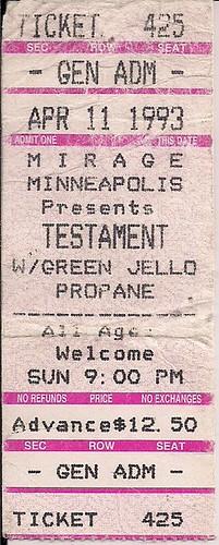 04/11/93 Testament/Green Jello/Pro-Pain @ Minneapolis, MN