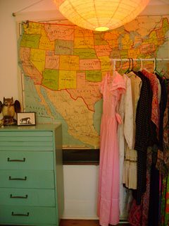vintage map, dresser, & clothes.