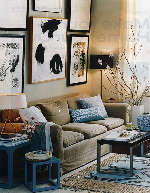 Photo - Blue and brown living room ...
