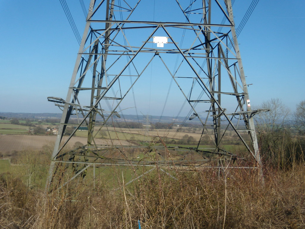 View through pylon Petersfield to Rowlands Castle