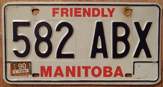 MANITOBA 1990 RED-BLACK on WHITE 1983 baseplate