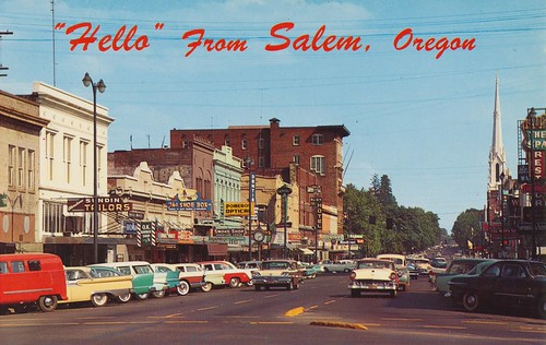 oregon vintage postcard 1950s salem statestreet cityview