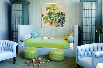 Kelly Wearstler: Blue & green + John Derian leather Moroccan poufs in her son's bedroom