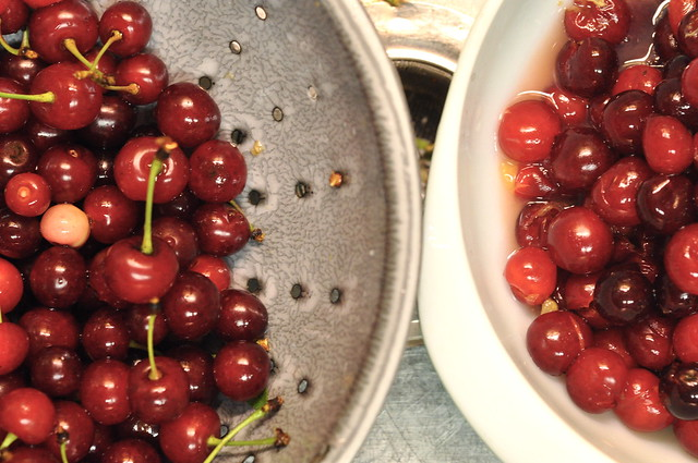 cherries in the sink