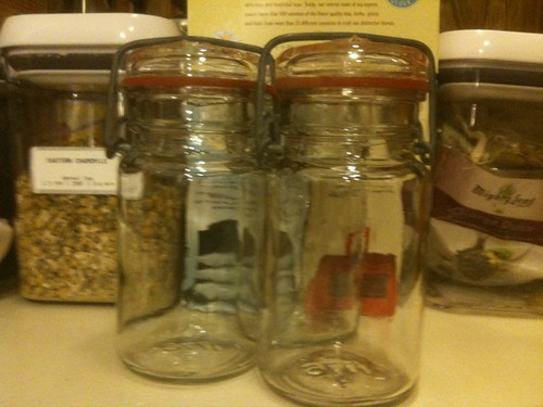 Three salvaged canisters I am going to stow teas in.