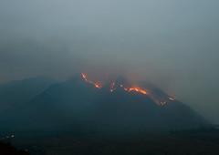 fog, wildfire, mountain, volcano, haze, fire, mist, volcanic landform,