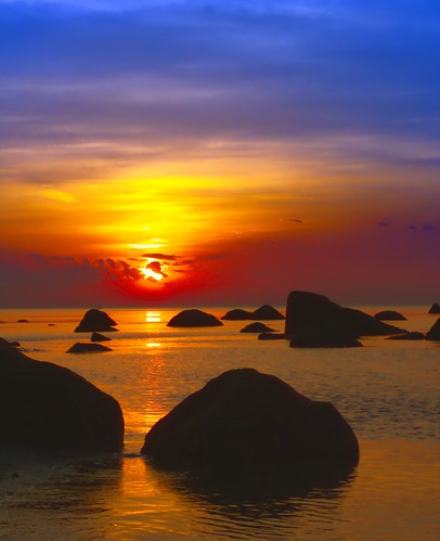 sunset sea sun water island rocks long sound platinumphoto platinumsuperstar