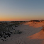 Camp in long shadows, Fire Island National Seashore