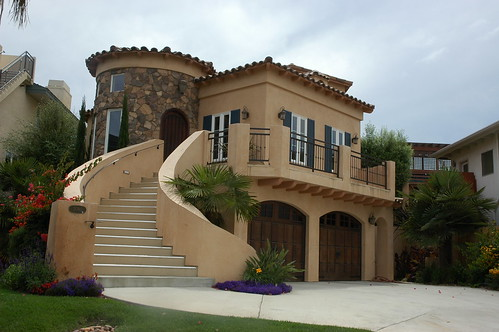 California Castle, house with grand stairway, Encinitas, California, USA by Wonderlane