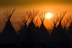 sunset in the tipi village