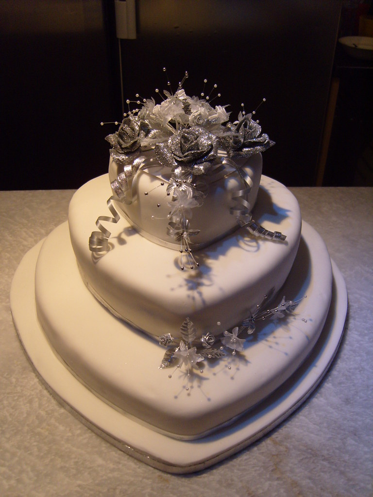Tier Silver And White Wedding Cakes Heart Shaped