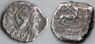 464/7 Carisia Sestertius T. CARISIVS. Pan Panther thyrsus AM#0521-80