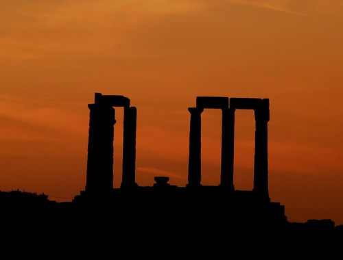 Cape Sounion at sunset! (Athens Greece temple god ancient)