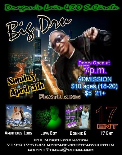 BigDru New flyer For Every Sunday Night at The Dragon's Lair