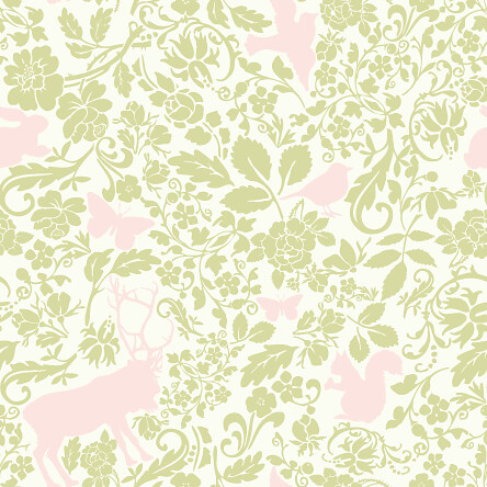Woodland creatures pattern - Cream pink green