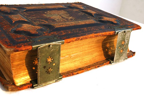 Antique Holy Bible, printed in 1885, with metal clasps, and leather binding, Puerto Vallarta, Jalisco, Mexico