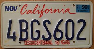 CALIFORNIA 1999 LICENSE PLATE ---SESQICENTENNIAL BASEPLATE