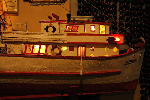 Detail of a model fishing vessel, Chichos Restaurant, boat, Mexico by Wonderlane