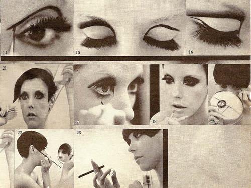 Peggy Moffitt applying her make-up