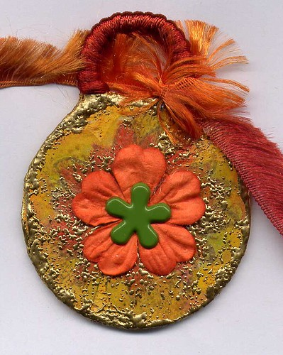 "ALTERED TIN CAN ""Small orange flower"" 018"