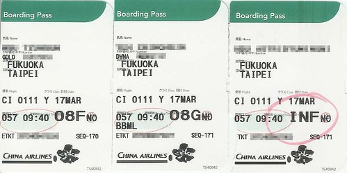 Boarding passes from Fukuoka to Taipei