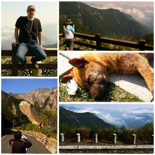 dog mountain clouds fence geotagged highway taiwan valley baseballcap 花東縱谷 geo:lat=23264 geo:lon=120961666