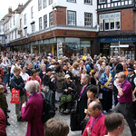 Onlookers gathered by the precincts of Canterbury Cathedral for the opening Eucharist