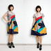 MiME Vintage_ 80s geometric pattern dress 100% cotton_ for this colorful summer!