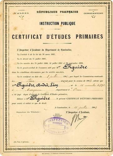 André Léon certificat d'études primaires 1904