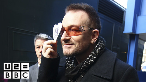 Bono arrives at the BBC