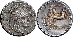 282/4 #9429-30 L.LIC.CN.DOM, L.POMPONI CNF Roma Bituitus biga Denarius. Plated.