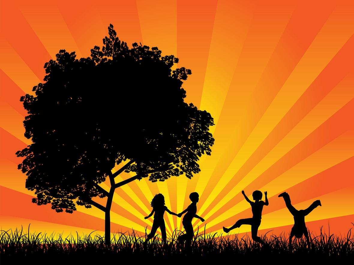 Illustration of four silhouetted children running holding hands