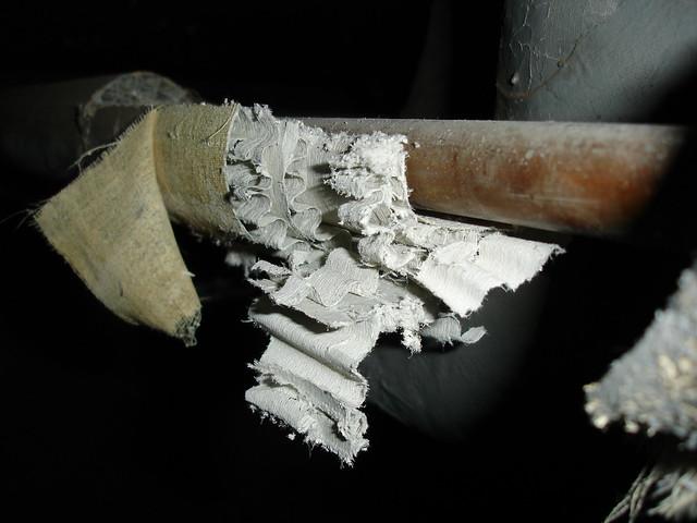 Asbestos Corrugated Paper Pipe Insulation Damaged