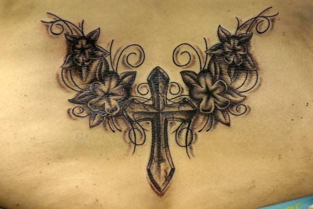 Cross flowers and vines tattoo flickr photo sharing for Flower cross tattoo