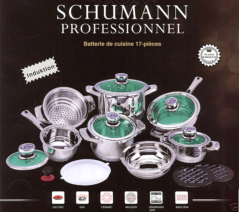 batterie de cuisine schumann induction 16 p verre luxe ebay. Black Bedroom Furniture Sets. Home Design Ideas