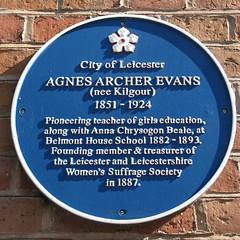 Photo of Agnes Archer Evans blue plaque