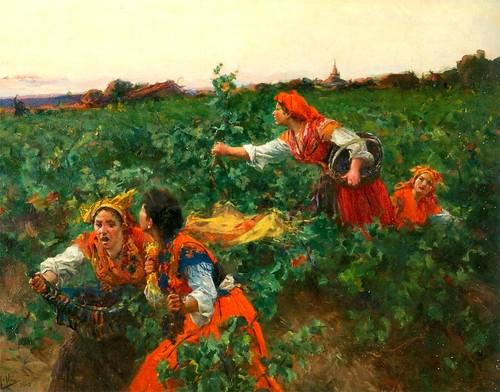 pintura sobre tela uvas