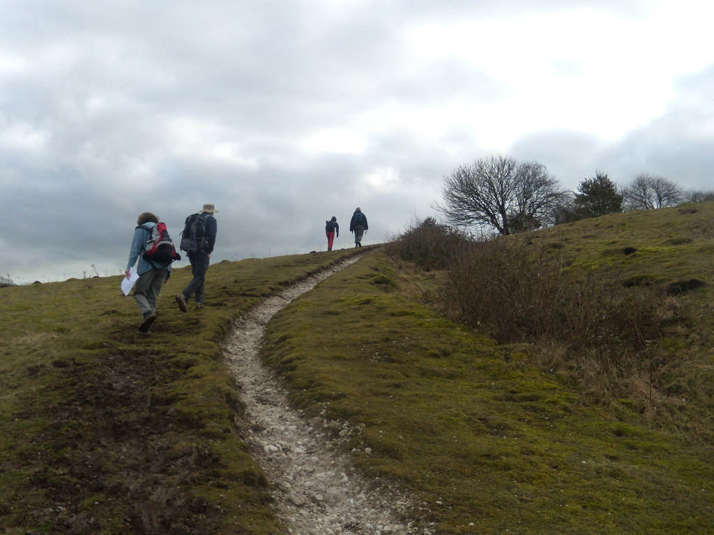 Sherpas taking my stuff to the top Climbing Kitstone Hill. Amberley Circular