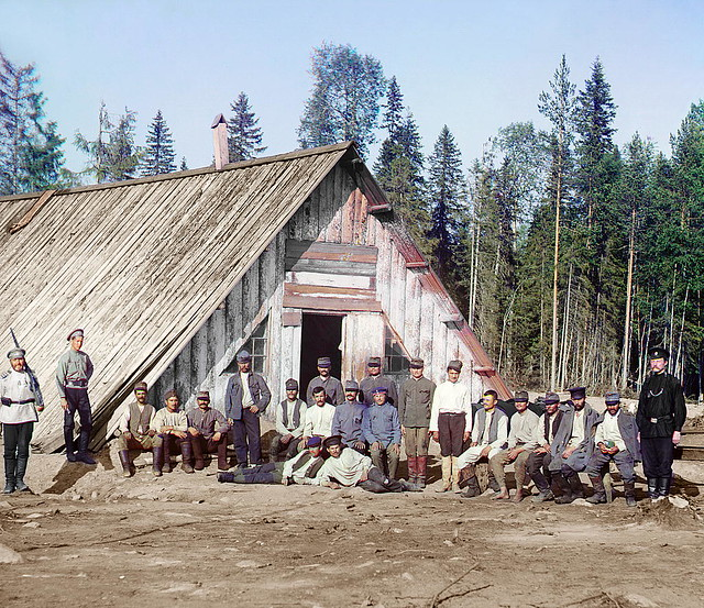 Austrian prisoners of war near the barrack, Karelia, 1915