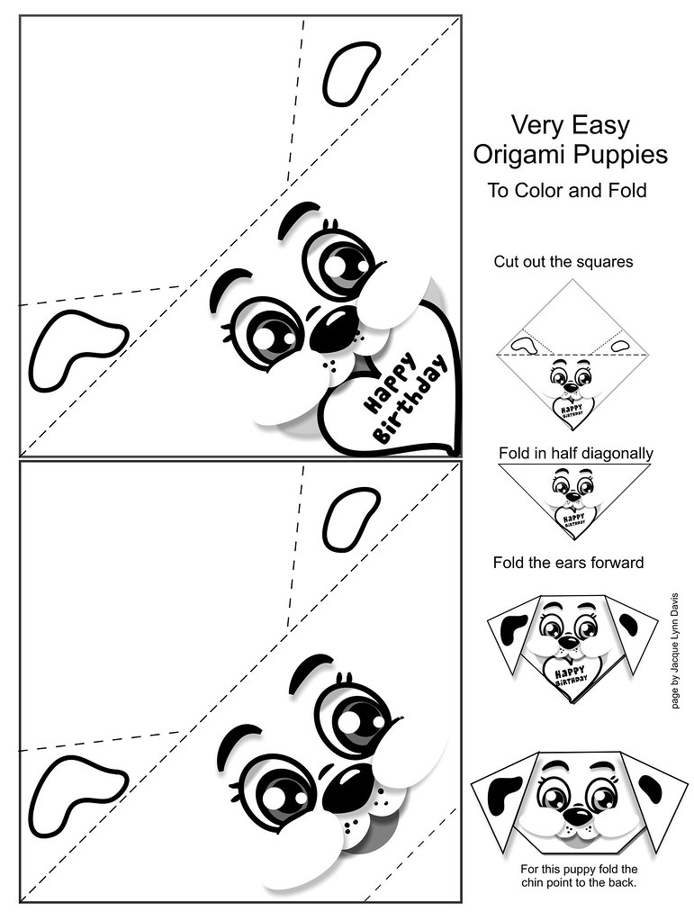 very easy origami puppy paper to print