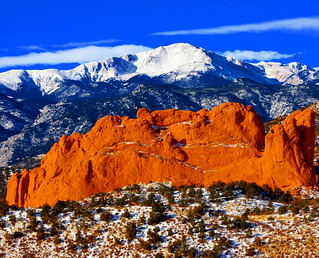 Sweet America, Pikes Peak Mounatin from Garden of the Gods Park, with Kissing Camels in the foreground, located in Colorado Springs, CO.