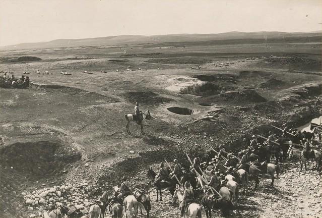 70-OTTOMAN SOLDIERS, AWAITING A BRITISH ATTACK AT BEERSHEBA, 1917