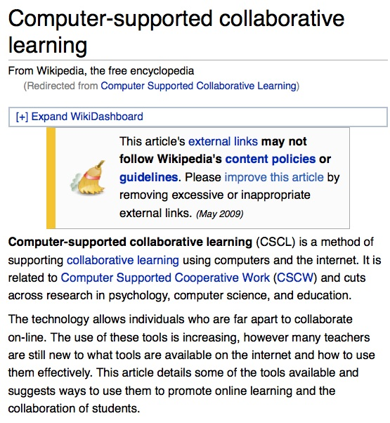 Collaborative Teaching Wikipedia ~ Computer supported collaborative learning wikipedia the
